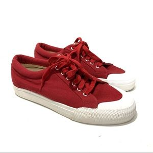LL Bean Red Lace Up Classic Sneakers